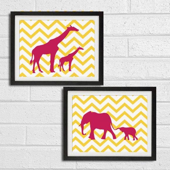 Safari Nursery Wall Art Prints - Elephant Giraffe Chevron African ...