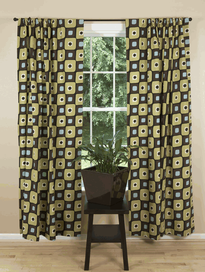 Retro Style Curtain Panels In Black Blue And Moss Retro