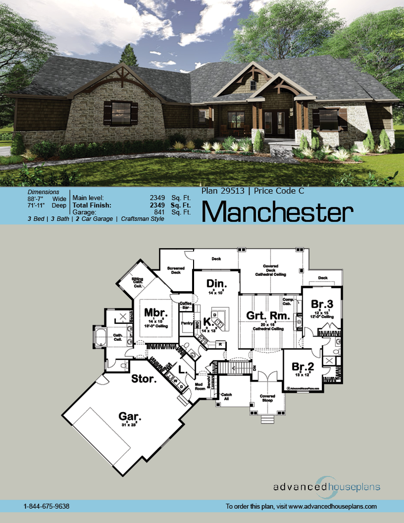 1 Story Craftsman House Plan Manchester Craftsman House Plans Craftsman House Craftsman House Plan