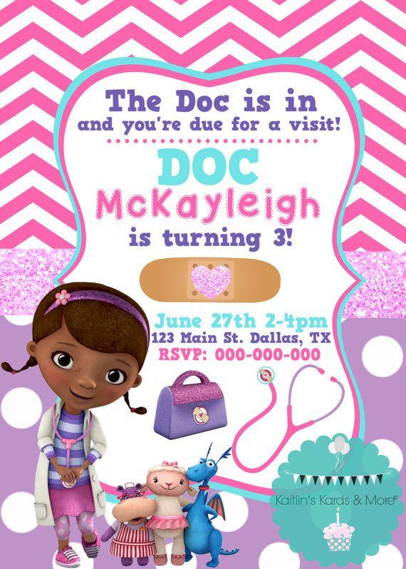 Doc Mcstuffins Birthday Invitation By Kaitlinskardsnmore On Etsy