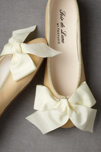 Satin Ballet Flats in Shoes & Accessories Shoes at BHLDN