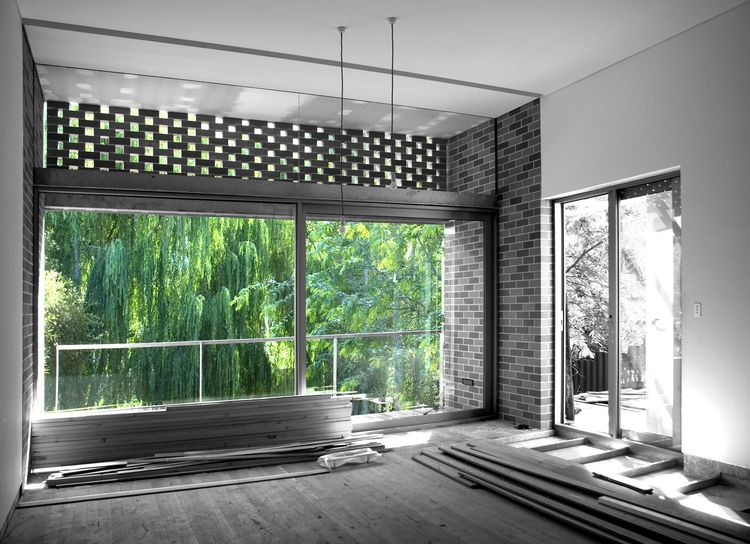 Inside Outside Brick Living Room With Brick Threshold By Pendal U0026 Neille  Architects