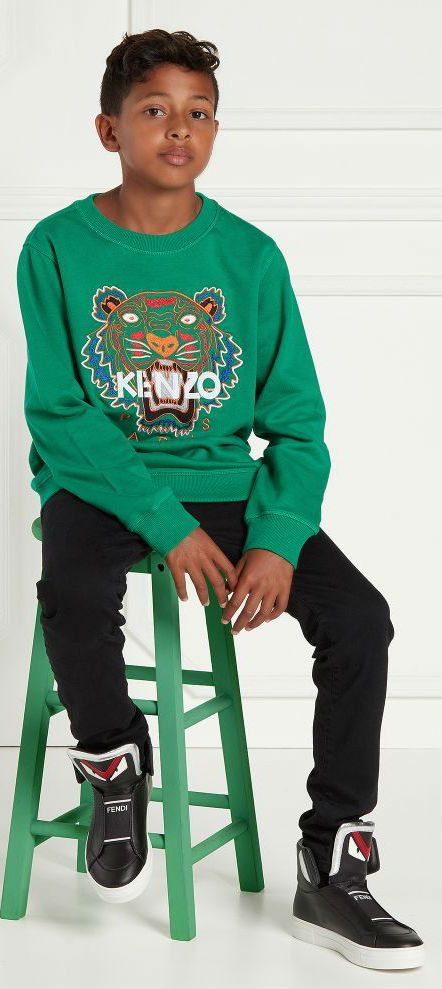 642b0e99cd43 KENZO KIDS Boys Mini Me Green Tiger Sweatshirt.  kidsfashion  kenzo   kenzokids  kidsfashion  boy  style  fashion