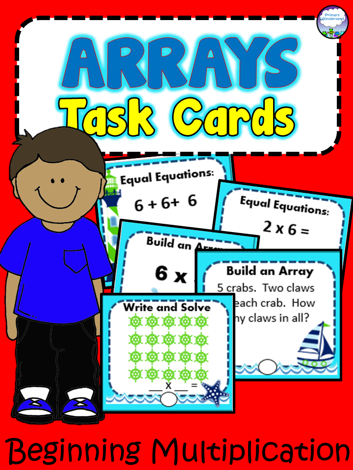 90 Multiplication Array Task Cards with Recording Sheet OCEAN THEME ...