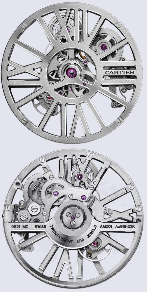 #Watches SIHH 2016: Cartier In-House 9621 MC Calibre Movement :::  A symbolic example of Cartier ingenuity, the skeleton movement with automatic winding, the calibre 9612 MC is scientifically designed so as to enhance the aesthetic appearance of the watch.