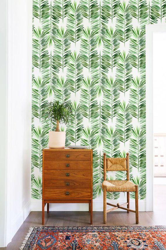 Palm tree wallpaper, Palm leaves wall decor, Removable wallpaper, Tropical wallpaper, BW031