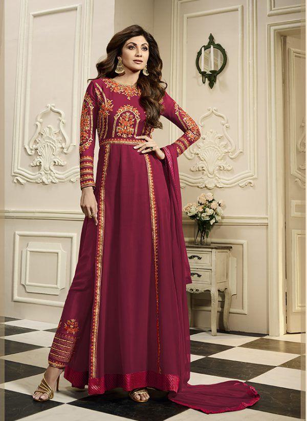 5a2e792d33 Pretty Indo-Western Dress Is Magenta Pink Color   Designer Dress ...