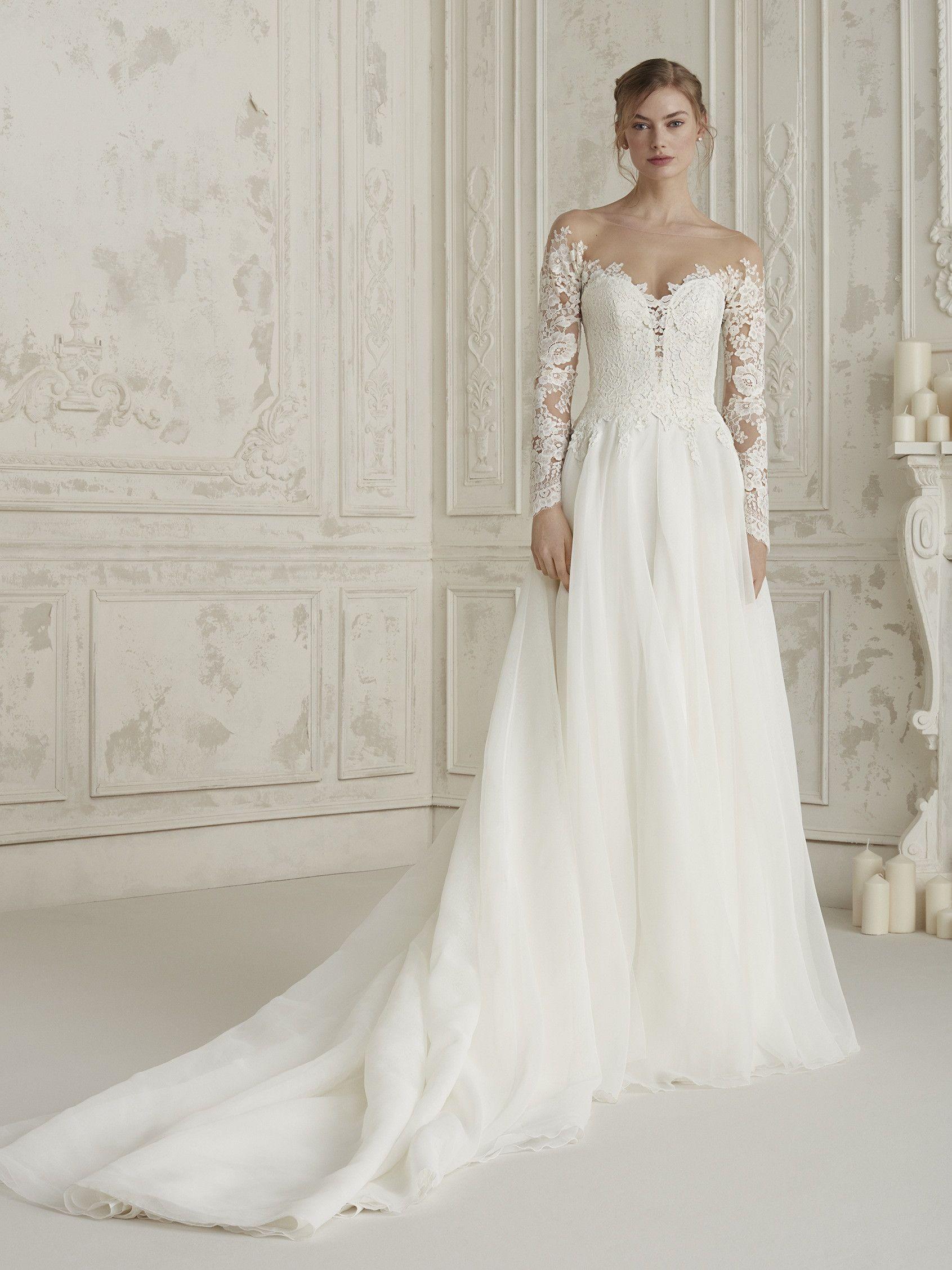 Evasé wedding dress with tattooeffect sleeves elisea pronovias