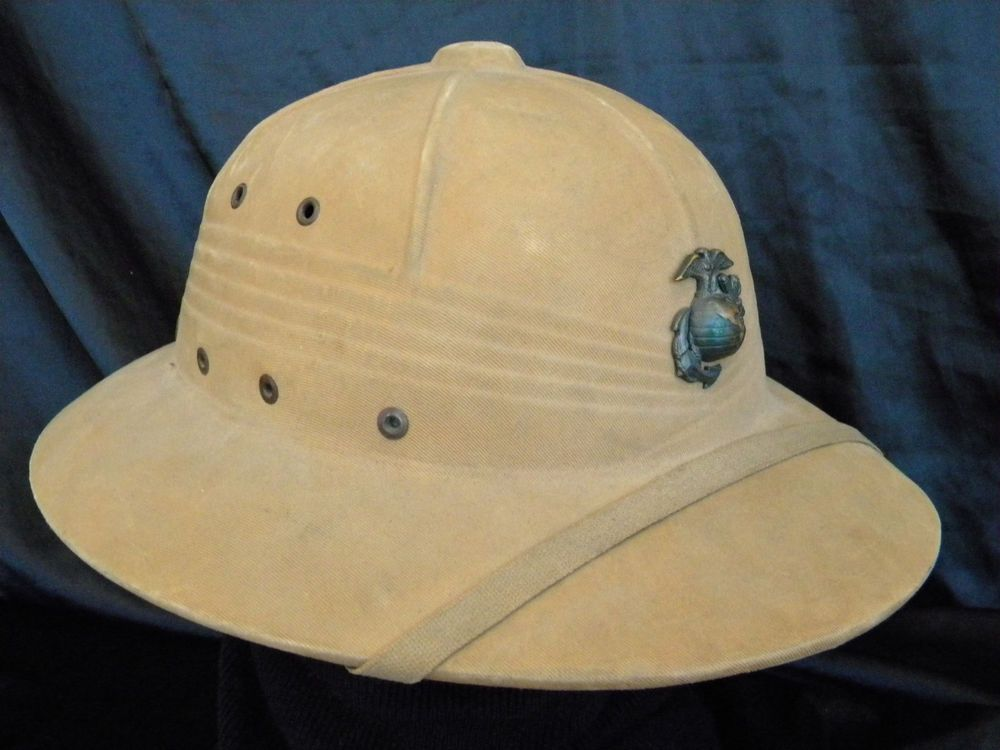 311458417 Named WW2 1942 USMC Marine Corps Pith Helmet with EGA in nice shape ...