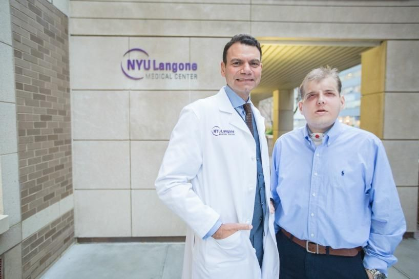 Patrick Hardison is a hero with an angel.  Patrick, a father of three, lost his eyelids, ears, lips, and most of his nose, as well as his hair, including his eyebrows.  In August 2014, Rodriguez, who was now the chair of the Wyss Department of Plastic Surgery at NYU Langone Medical Center, placed Patrick