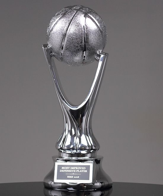 Silver Metalized Basketball Trophy Basketball Trophies Trophy Trophies