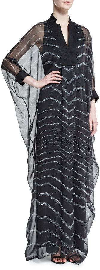 Halston Heritage 3 4-Sleeve Striped Caftan Gown, Black SAVE UP TO 75 ... 8f9387c322ff