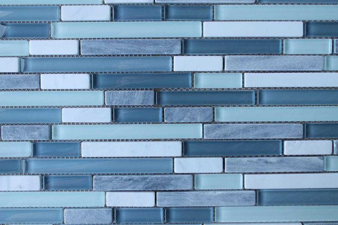 Bliss Waterfall Stone and Glass Linear Mosaic Tiles | Rocky Point ...