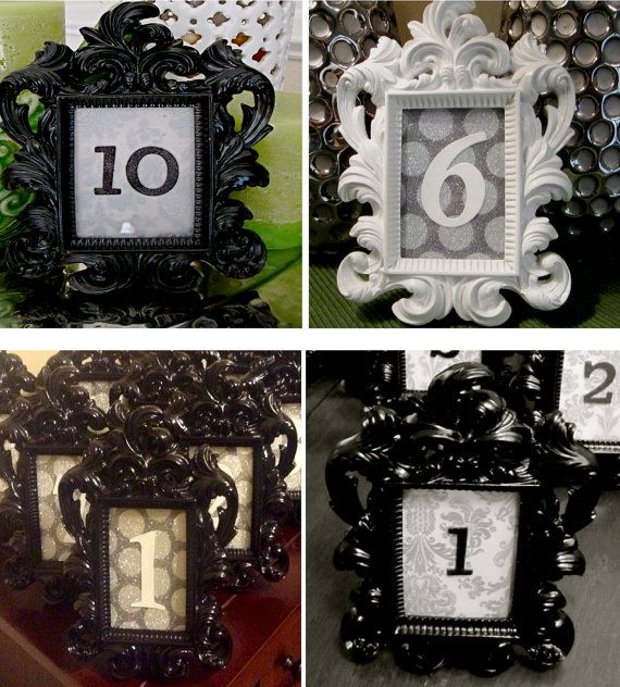 Black and white table numbers in black and white antique frames ...