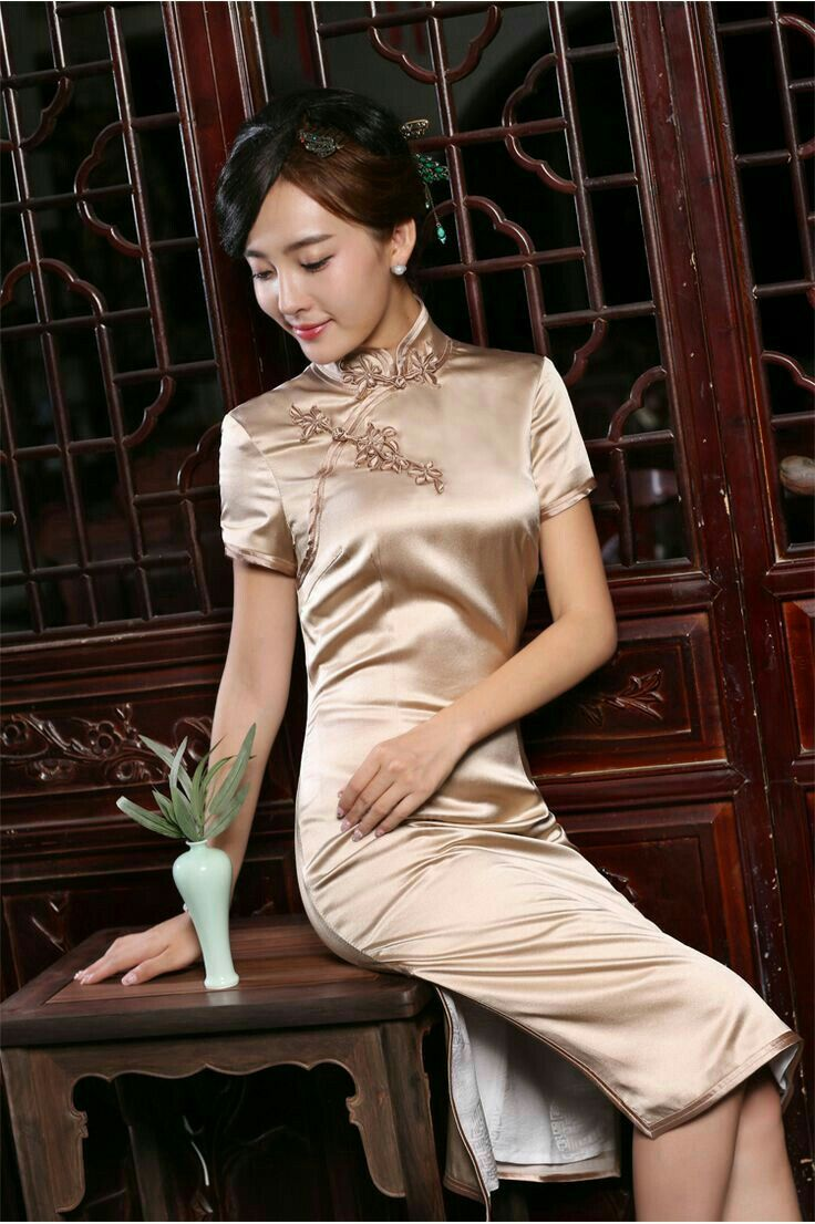 Asian style satin dresses