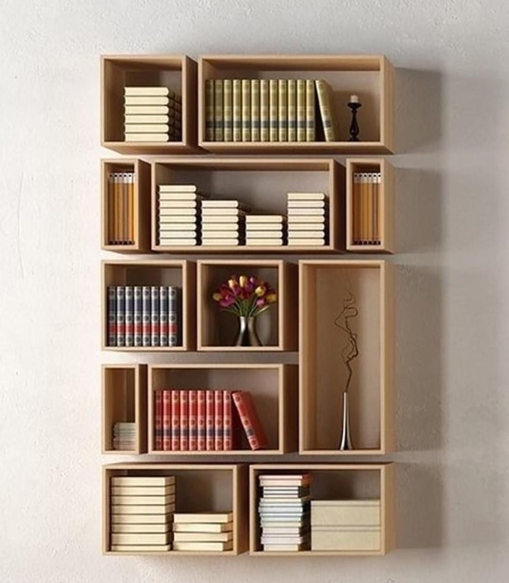 Bookcase Floating Bookshelf Bookshelves Asymmetrical Bookshelf Small Bookcase Cube Shelves Handmade Furniture Diy Bookshelf Design Bookshelves Diy Bookshelf Design