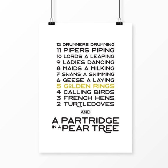 photo relating to 12 Days of Christmas Lyrics Printable titled 12 Times of Xmas decoration 12 Times of Xmas print