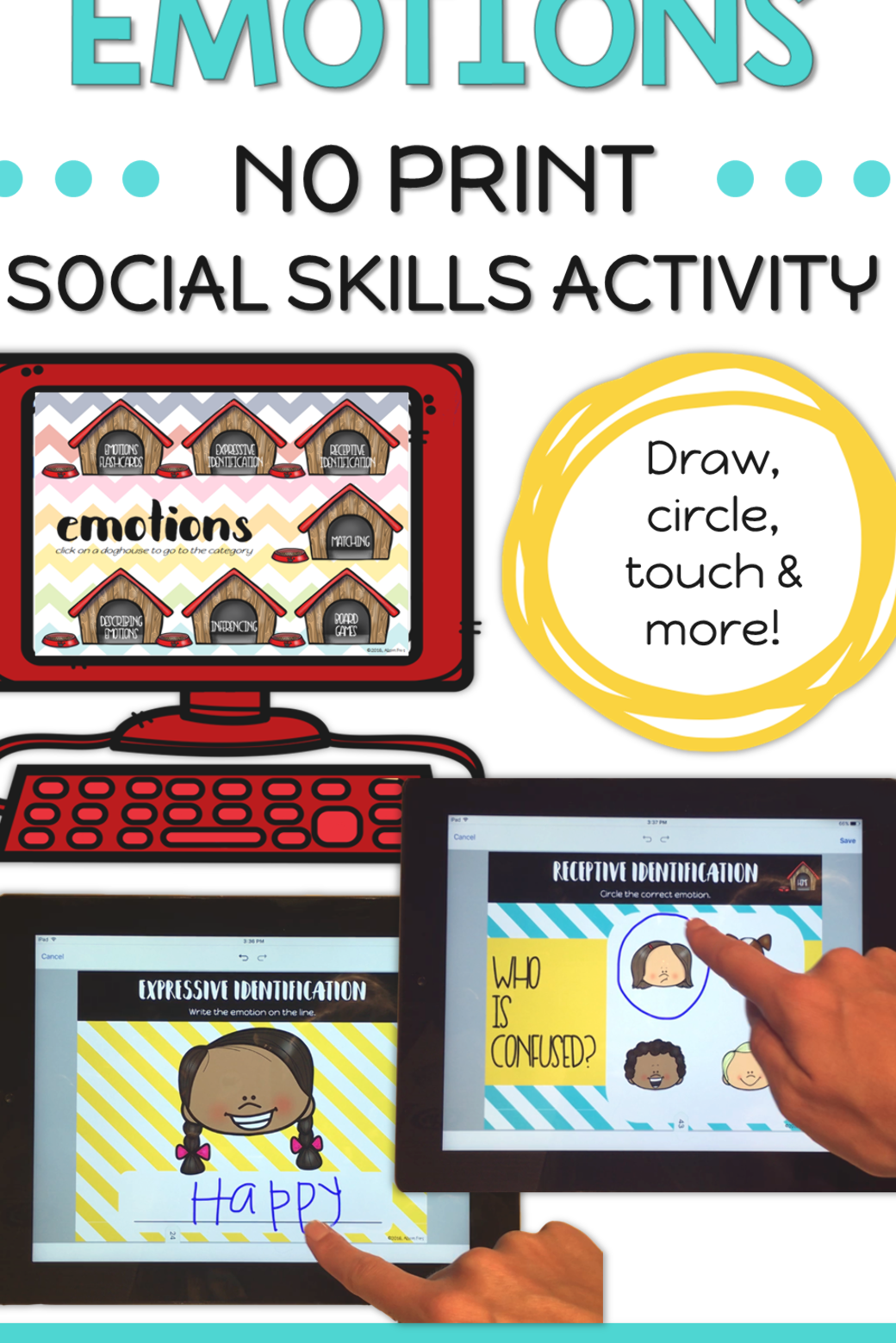 Emotions activities for kids. Identifying and expressing