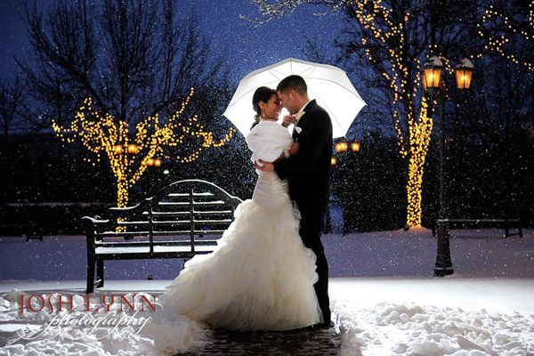The umbrella captures the light beautifully here! Doesn't this make you wish it would snow at your wedding?