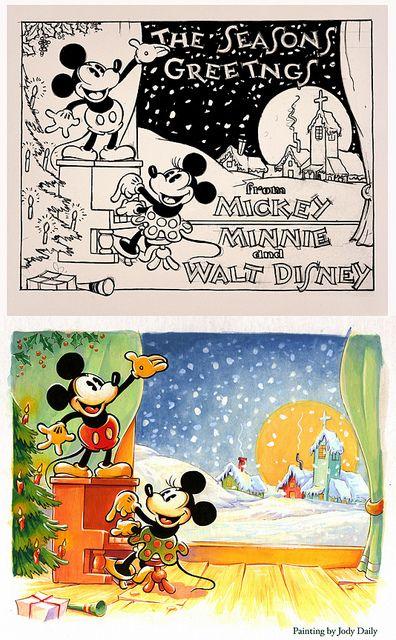 1930s Christmas Card By Jody Daily Disney Christmas Cards Disney Christmas Vintage Disney