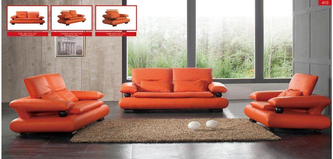 Esf 410 Living Room Set In Orange Leather Modern Style Living Room Orange Modern Sofa Living Room Leather Sofa Set