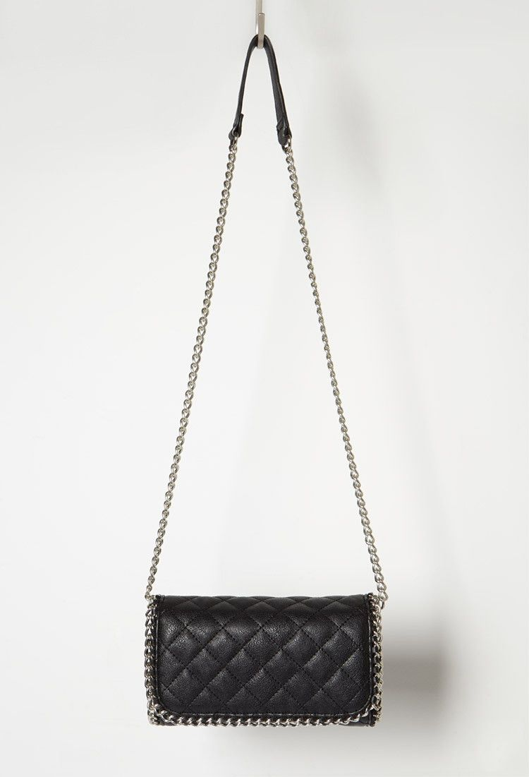 Chain-Trimmed Faux Leather Crossbody - Accessories - 1000172102 - Forever 21 EU English