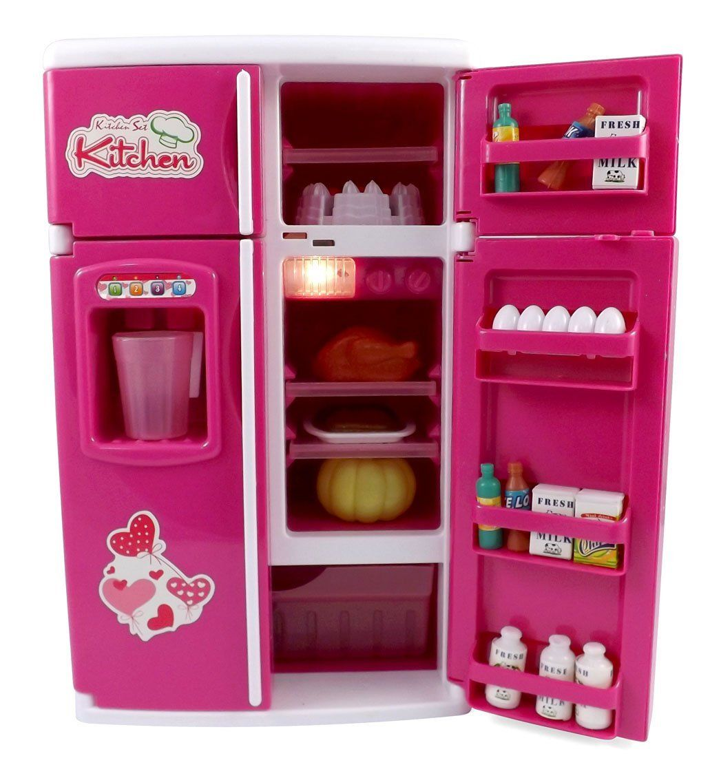 Amazon Com Dream Kitchen Refrigerator Pink Toy Mini Fridge Playset