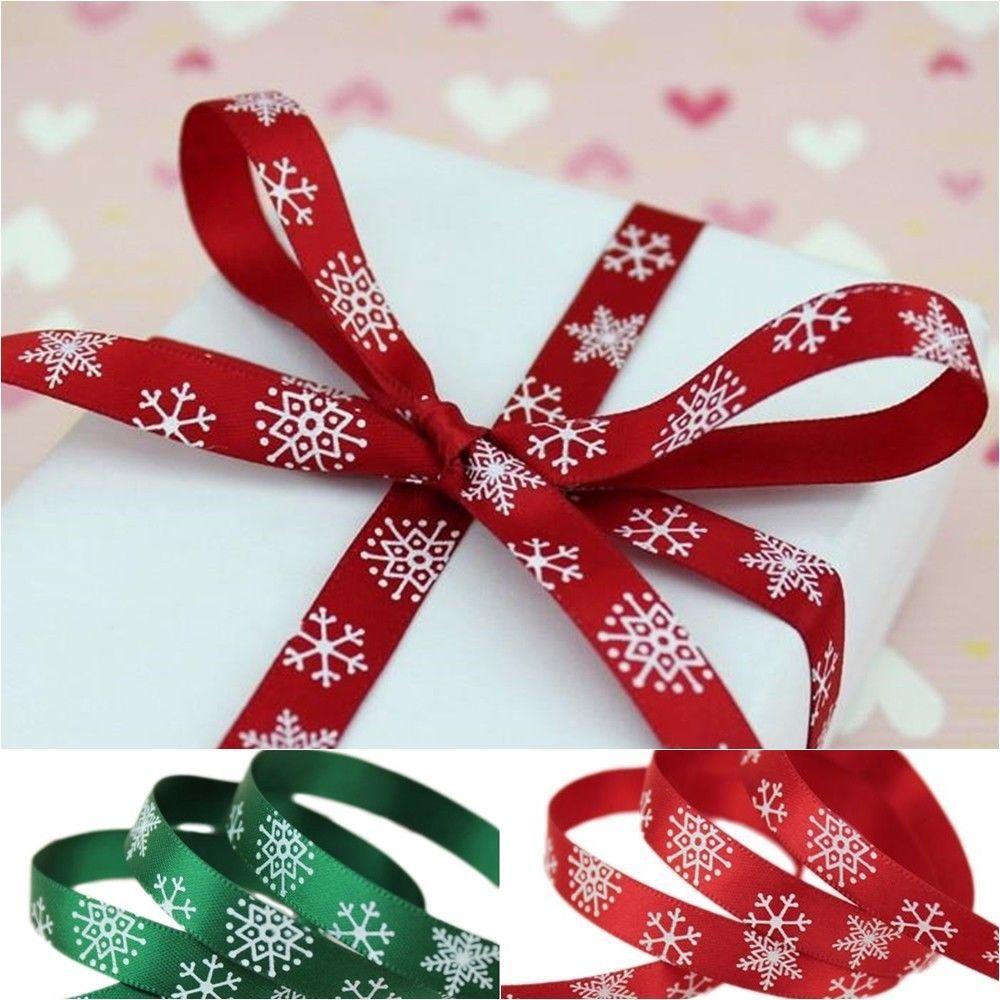 Organza Ribbon 10mm 25mm Snowflake Christmas Ribbons Gift Wrapping 10meters//lot