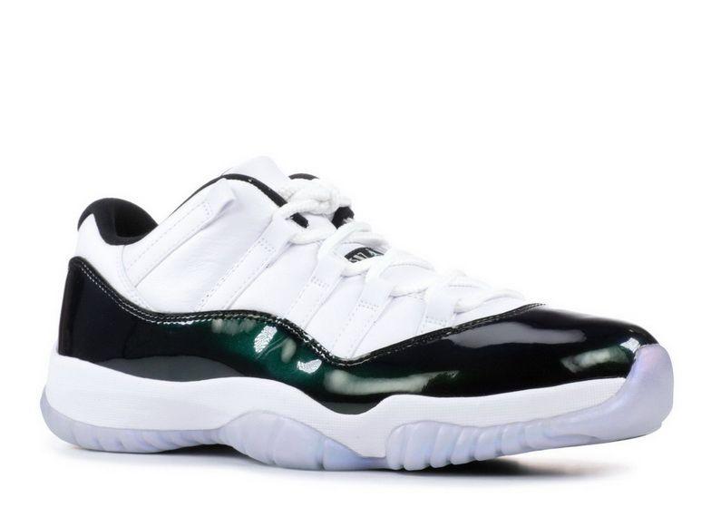 a206688a58a3 Air Jordan 11 Retro Emerald White Black Emerald Rise 528895 145 2018 Real  Sneaker