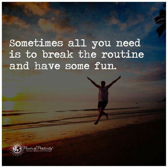 Sometimes all you need is to break the routine and have some fun. | Have some fun, Picture quotes, All you need is