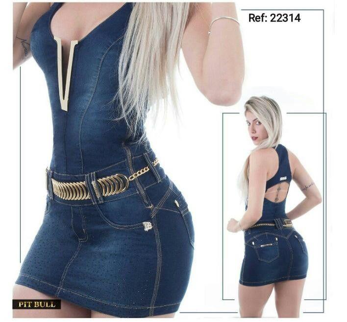 Vestido Pit Bull Jeans Coleção Nova Modela Bumbum Ref 22314 - R  558 ... 3b04ce3d509