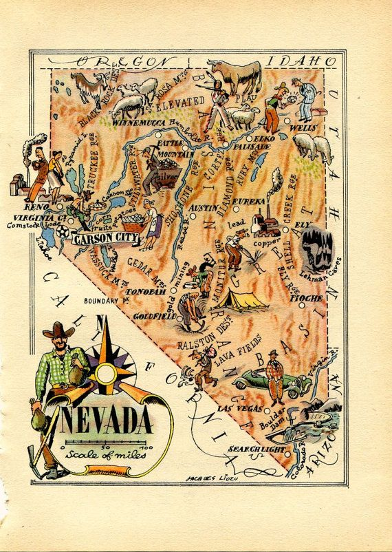 Illustrated Map of Nevada 1946 United States by CarambasVintage