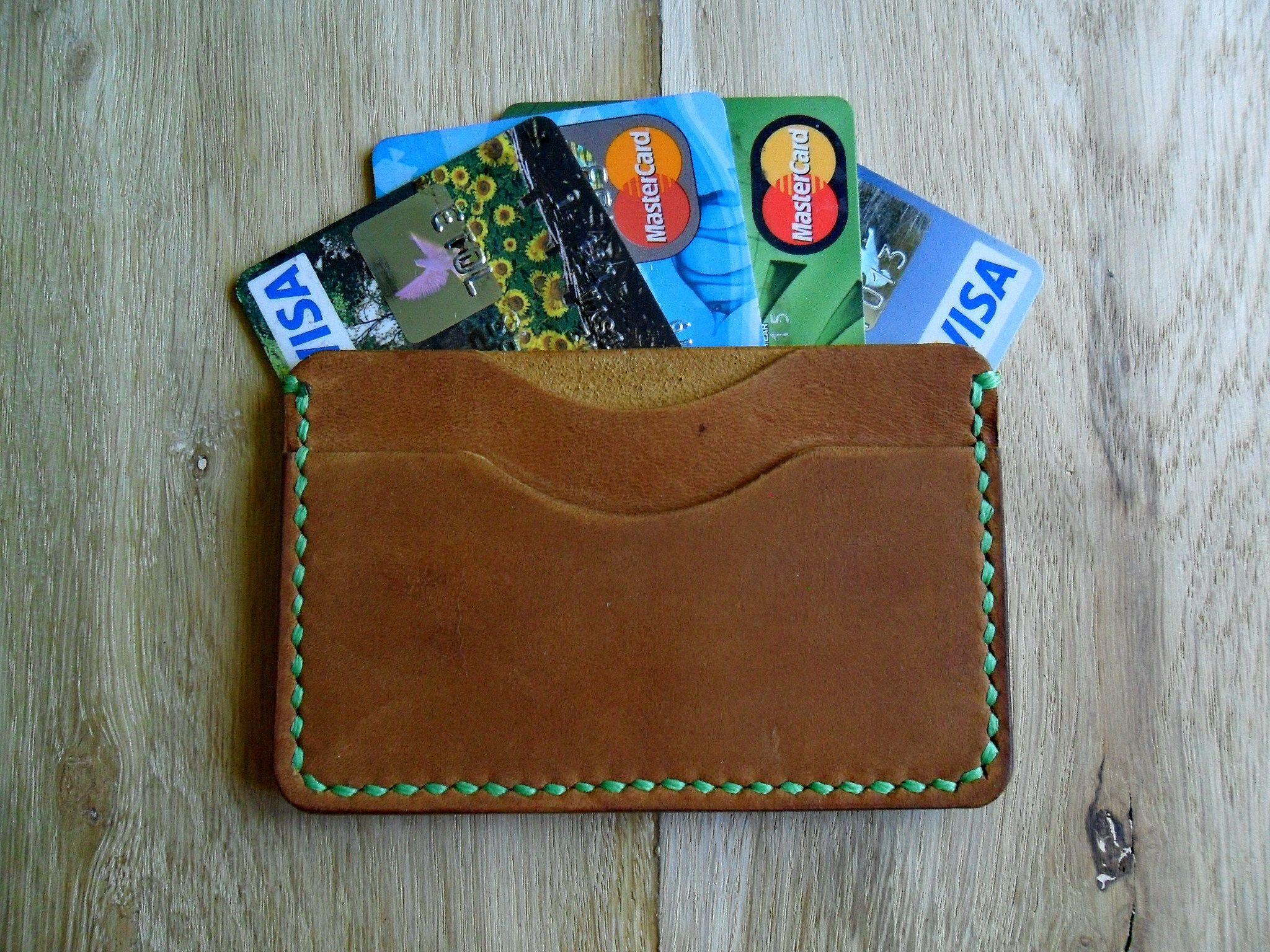 Brown leather card holder best gift groomsman slim front