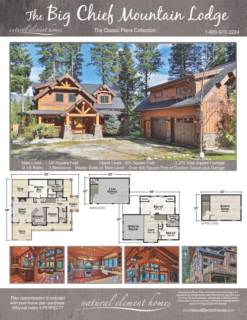 Big Chief Mountain Lodge Natural Element Homes Classic Plans Log Cabin Floor Plans House Floor Plans Cabin Homes