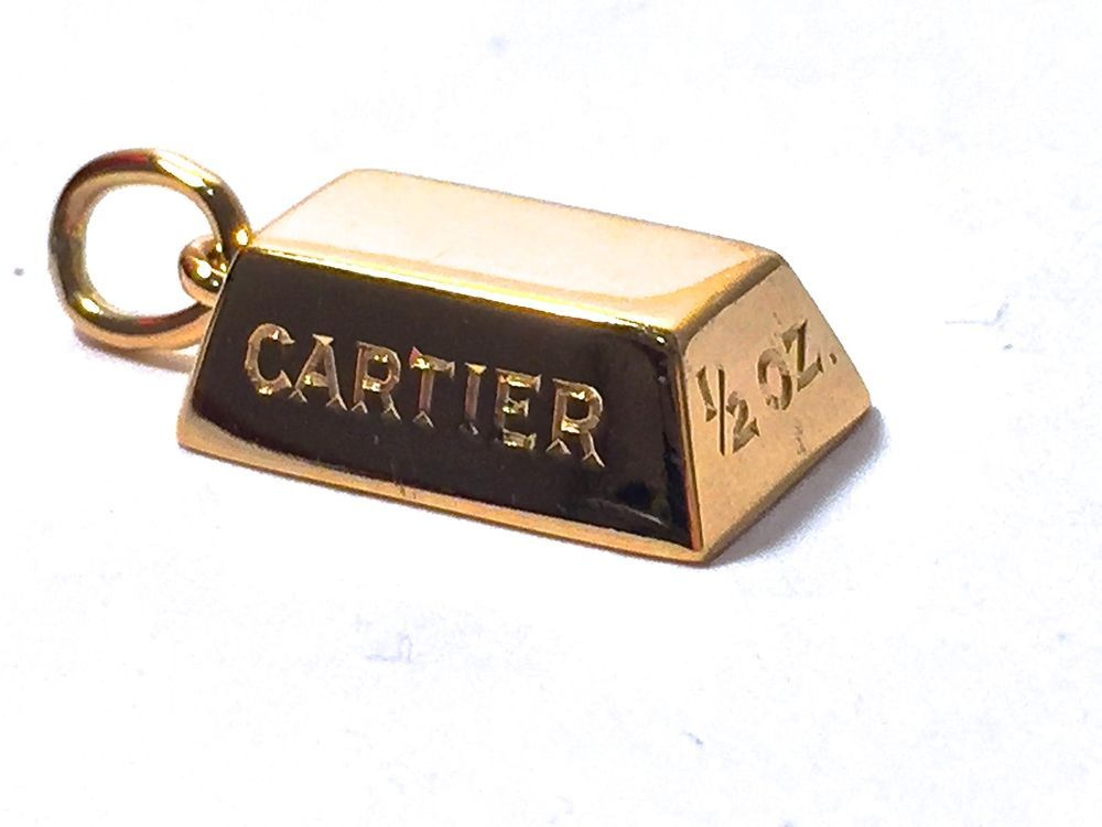 Authentic Cartier 1 2 Oz Gold Bar Ingot 18 K Pendant Necklace Or Bracelet Charm Gold Bar Vintage Necklace Pendant
