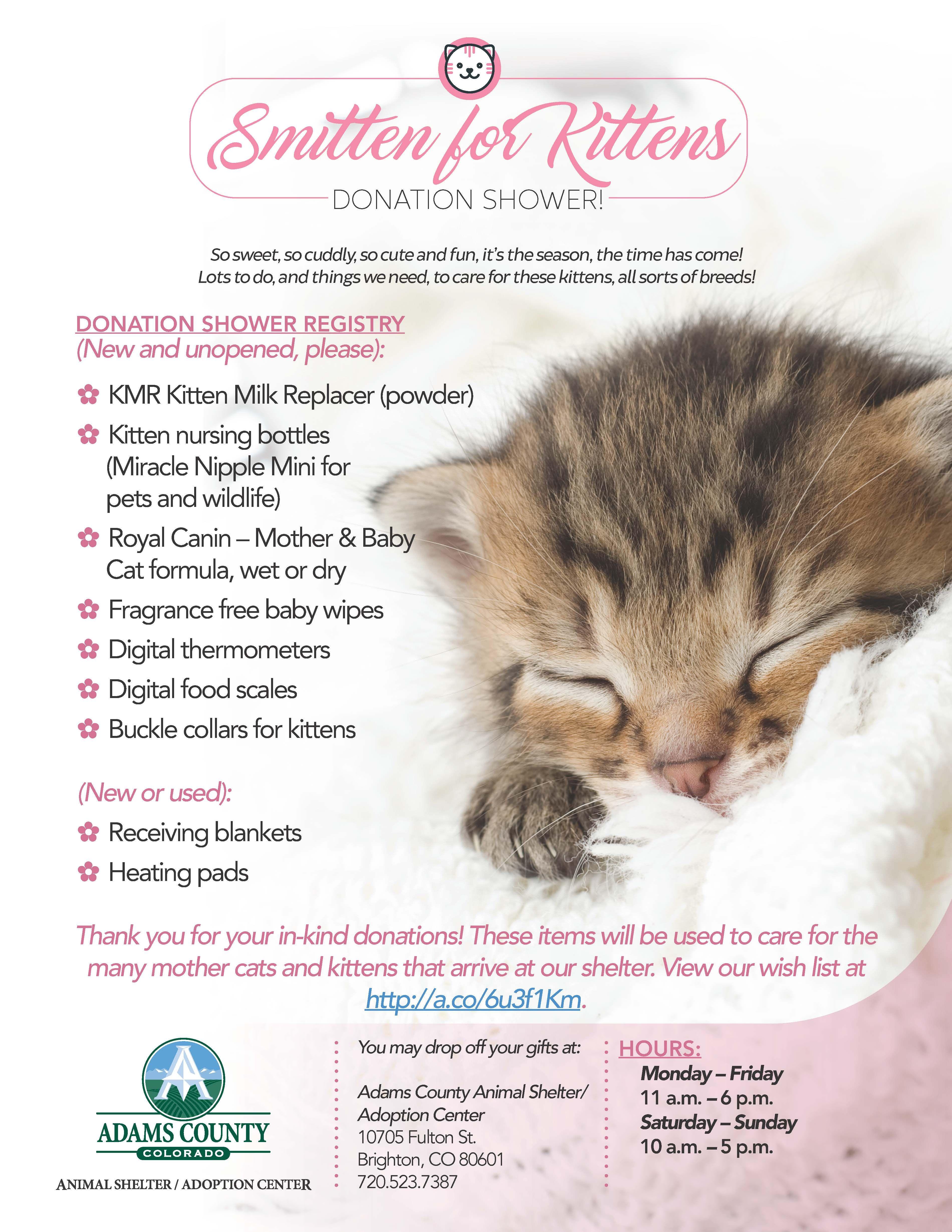 Smitten For Kittens Donation Shower Animal Shelter In 2020 Animal Shelter Kittens Donate