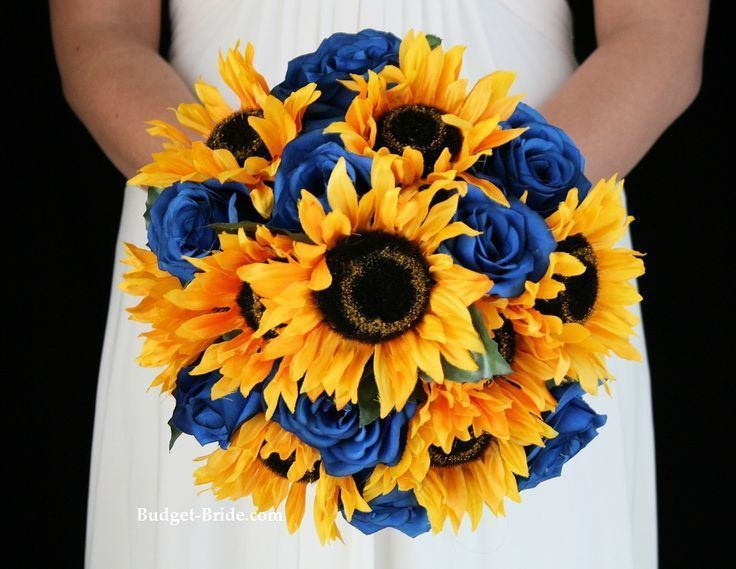 blue roses and sunflower bouquet Blue wedding