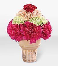 Ice Cream Cone Flower Arrangement Summer Flower Arrangements Flower Arrangements Floral Arrangements