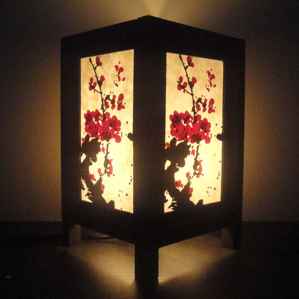 Asian Oriental Japanese Sakura Cherry Blossom Tree Bedside Table Lamp Wood Shade Bedside Table Lamps Wood Japanese Lamps Asian Home Decor