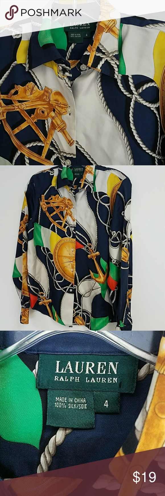 Ralph Lauren Silk Nautical Blouse Great condition Ralph Lauren Tops Button Down Shirts