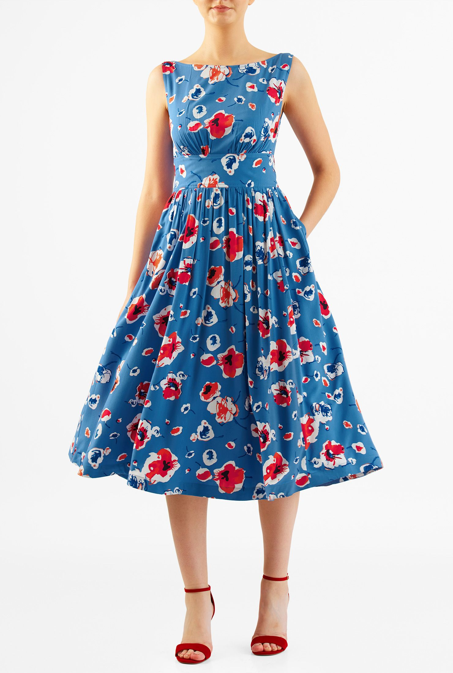 Floral print cotton modal ruched pleat dress | Printed cotton ...