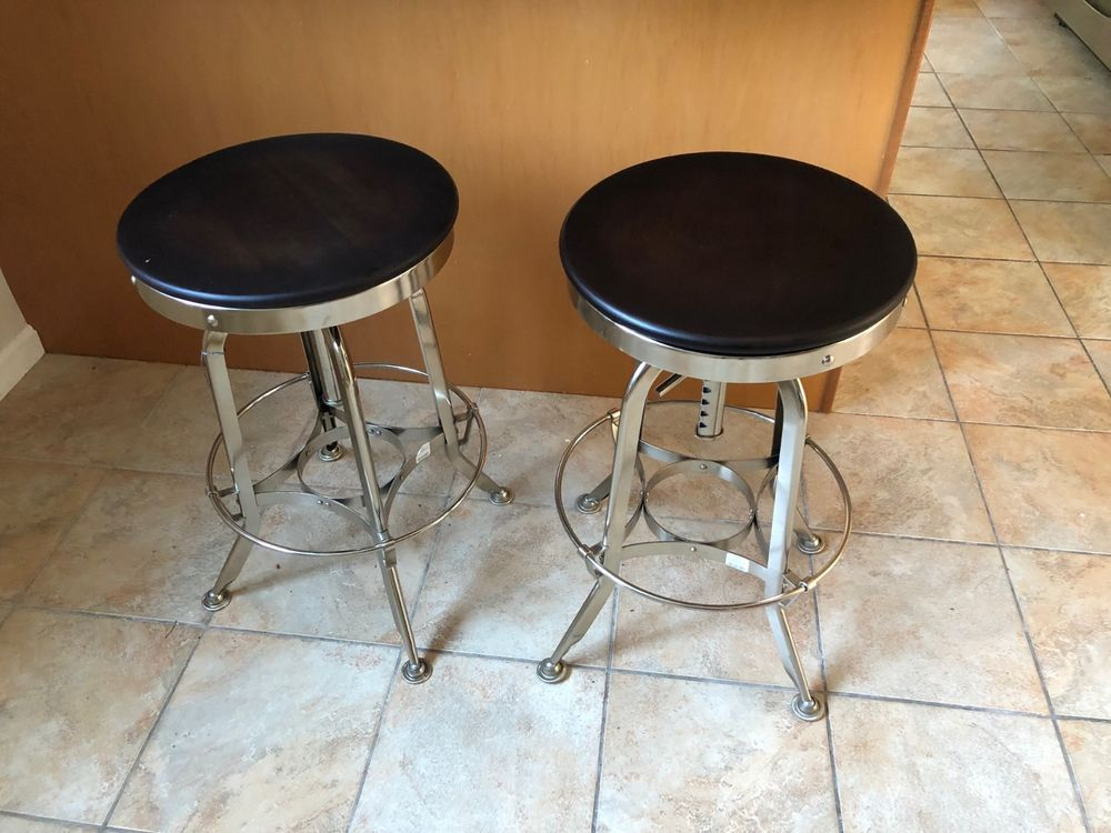 Cool Restoration Hardware Stools Dark Brown Chrome Set Of 2 Caraccident5 Cool Chair Designs And Ideas Caraccident5Info