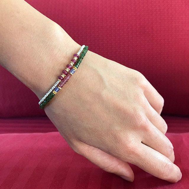 slim dainty women/'s jewelry Emerald Pearl bracelet with green peridot Victorian inspired small gemstones