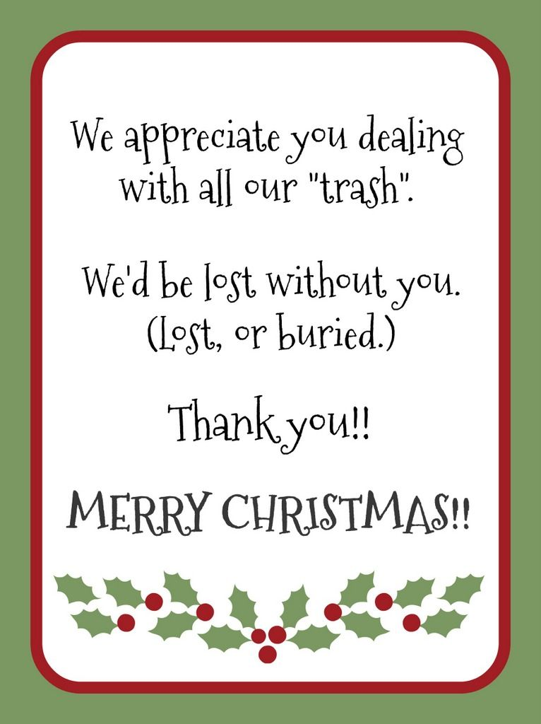 Gift Idea For Garbage Collector   Christmas Is The Perfect Time To Show  Appreciation For The
