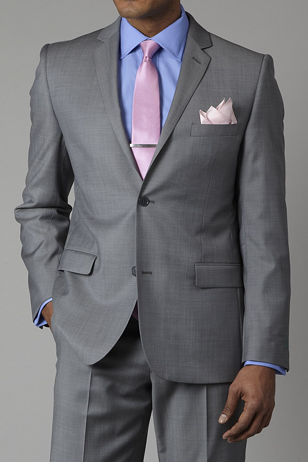 Grey Suit, Light Blue Shirt, Pink Tie