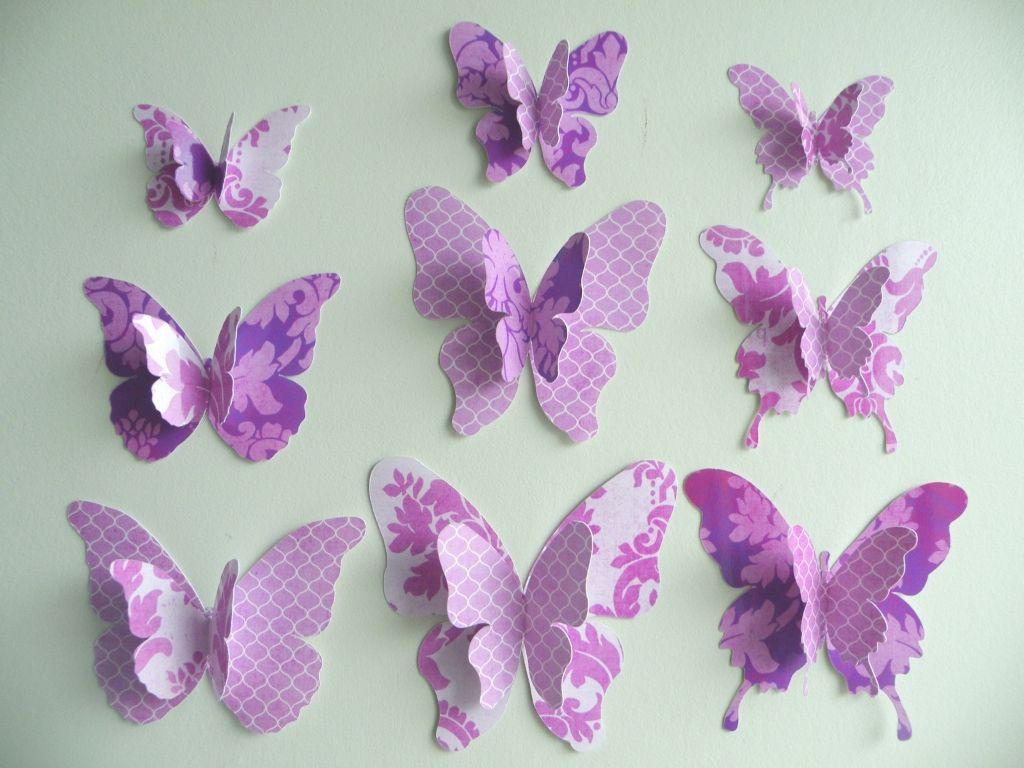 3D Purple Butterfly Wall Decor | Pink New Kitchen | Pinterest ...