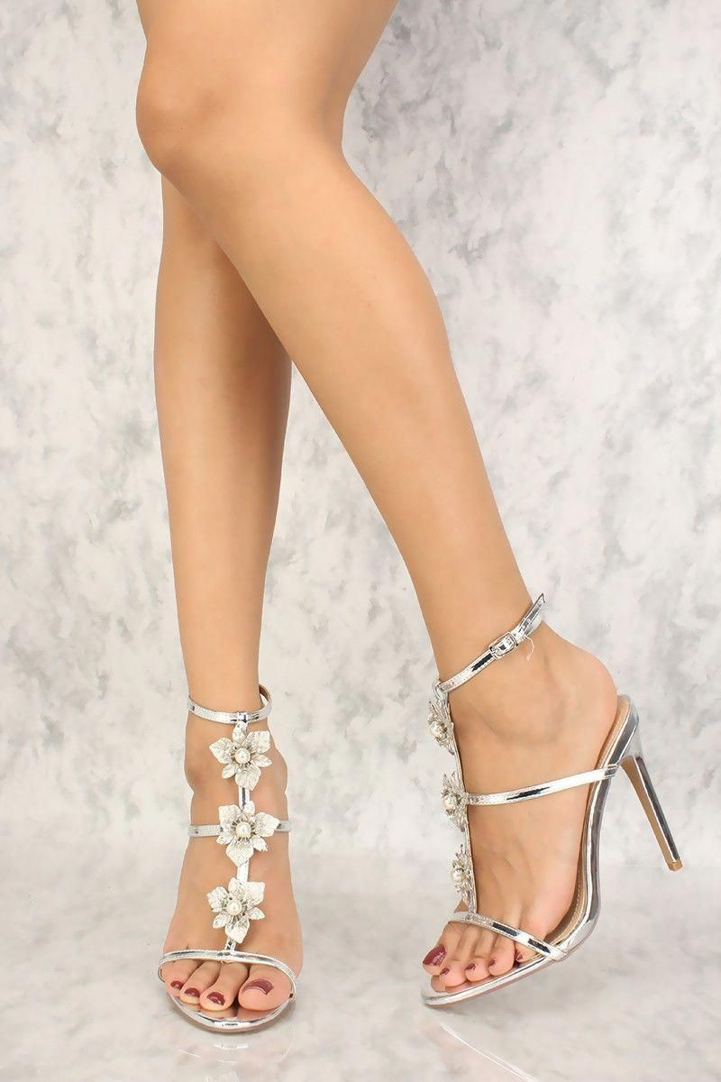 63ea5072820 Sexy Silver T-Strap Floral Embellished Single Sole High Heels   Shoeshighheels