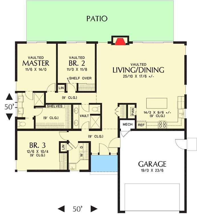 Plan 69637am Modern House Plan With Vaulted Ceilings And Transoms Modern House Plan House Plans Modern House