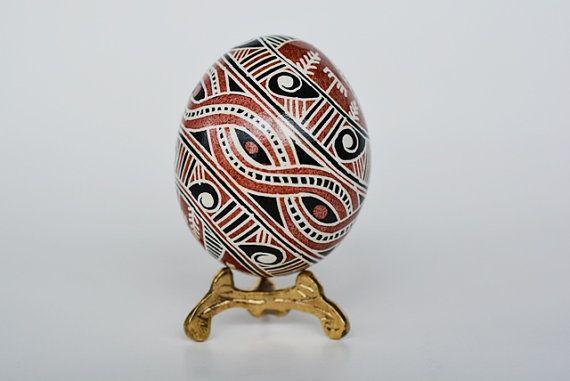 trypillian Pysanka, batik egg on chicken egg shell, Ukrainian Easter egg