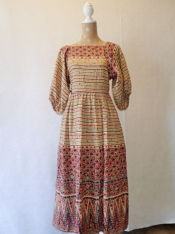 S hippie peasant long dress victor costa ltd boho floral design